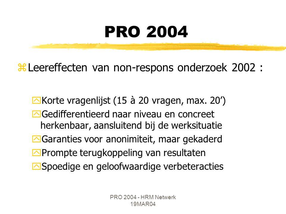 PRO 2004 - HRM Netwerk 19MAR04 zIn juni 2004 PRO via 2 sporen : yBasisvragenlijst : intern ontwikkeld instrument uitgetest door een gestratificeerde steekproef binnen MVG en vrijwillig deelnemende VOI's, via elektronische on line -bevraging Kandidaten VOI voor de algemene steekproef .