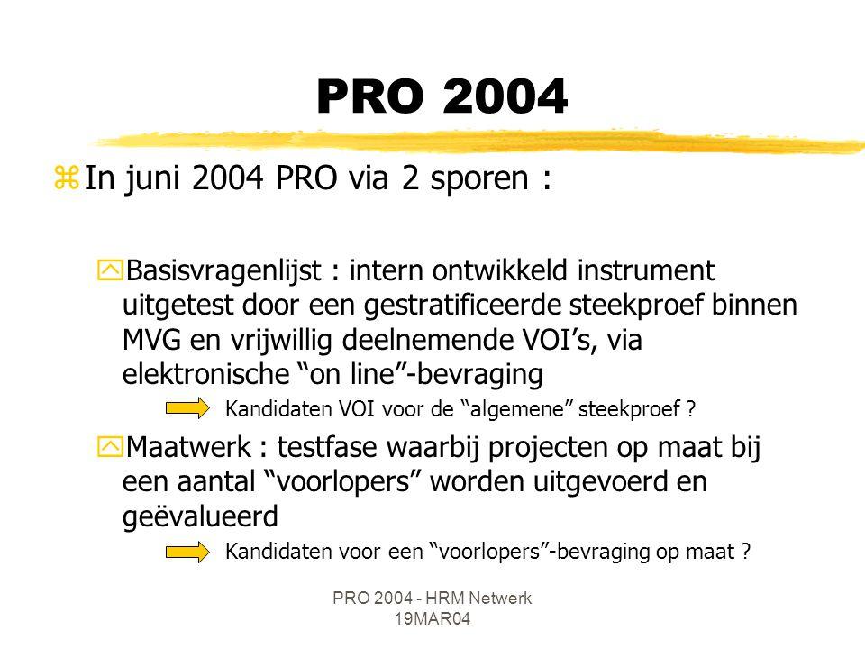 PRO 2004 - HRM Netwerk 19MAR04 zIn juni 2004 PRO via 2 sporen : yBasisvragenlijst : intern ontwikkeld instrument uitgetest door een gestratificeerde s
