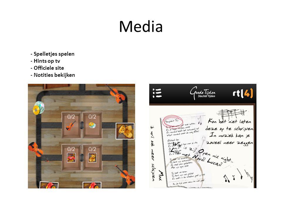 Media - Spelletjes spelen - Hints op tv - Officiele site - Notities bekijken