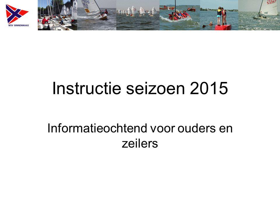 Instructie seizoen 2015 Informatieochtend voor ouders en zeilers