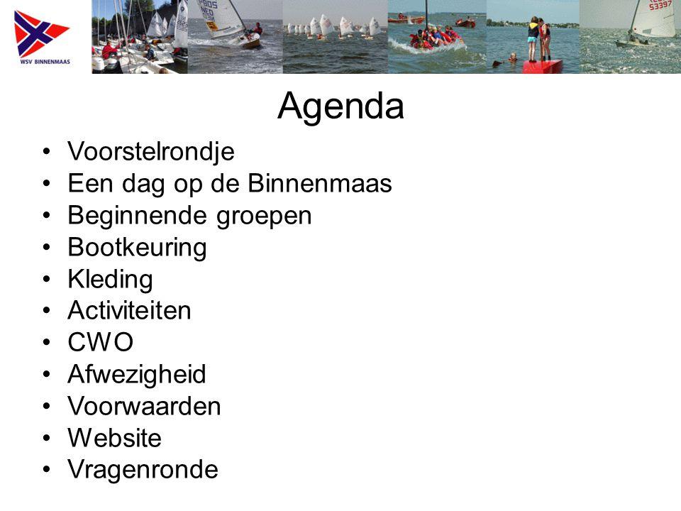 Agenda Voorstelrondje Een dag op de Binnenmaas Beginnende groepen Bootkeuring Kleding Activiteiten CWO Afwezigheid Voorwaarden Website Vragenronde