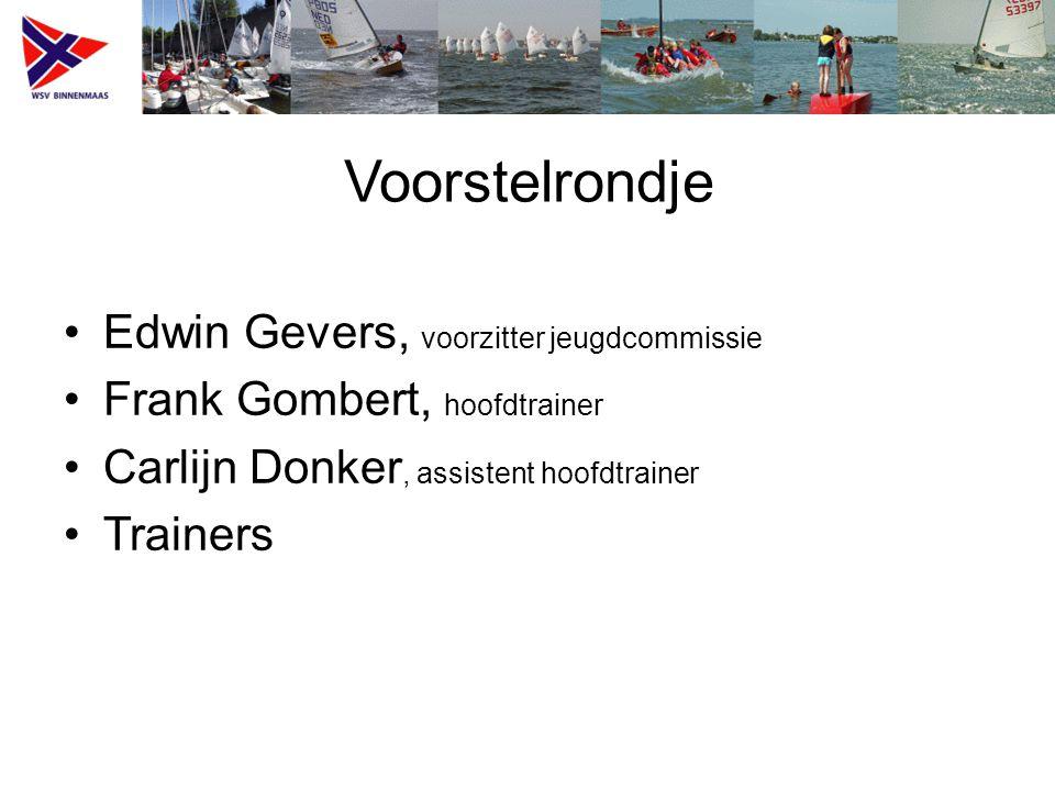 Voorstelrondje Edwin Gevers, voorzitter jeugdcommissie Frank Gombert, hoofdtrainer Carlijn Donker, assistent hoofdtrainer Trainers