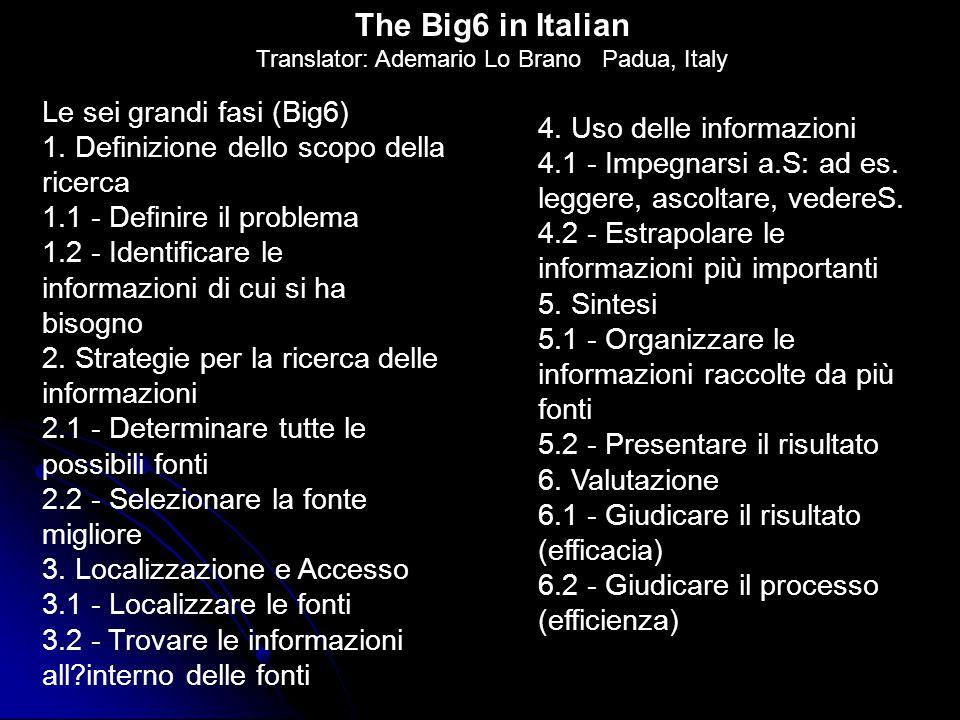 Le sei grandi fasi (Big6) 1. Definizione dello scopo della ricerca 1.1 - Definire il problema 1.2 - Identificare le informazioni di cui si ha bisogno