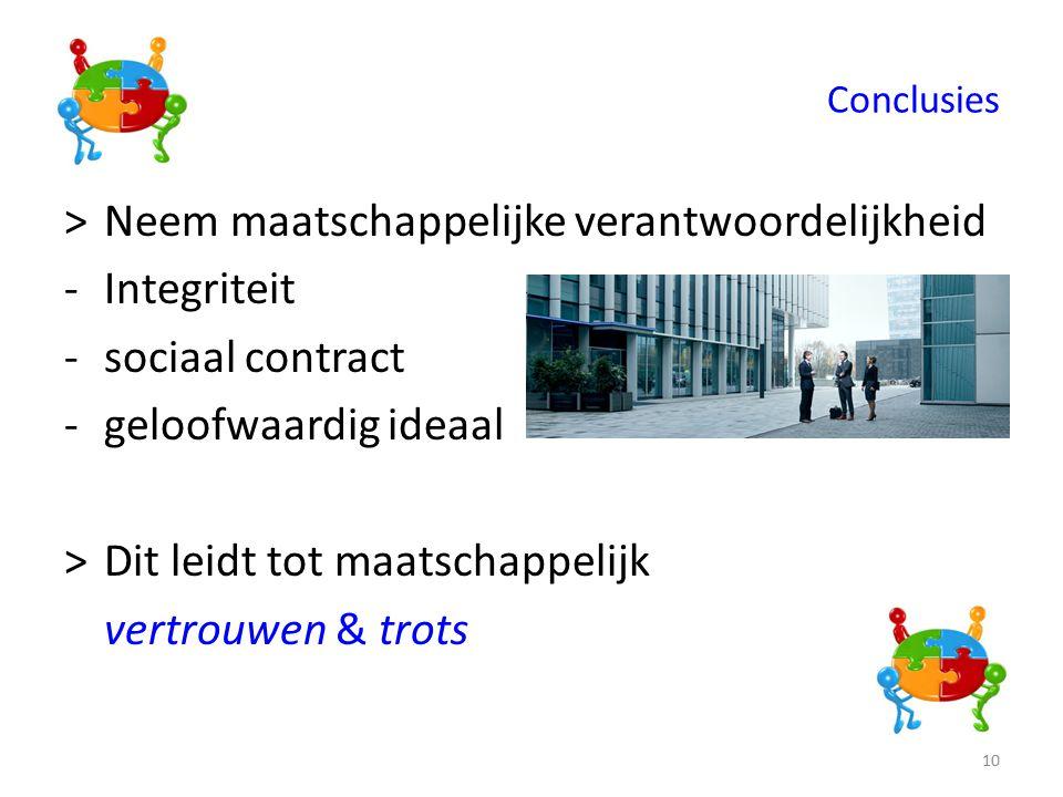 Conclusies >Neem maatschappelijke verantwoordelijkheid -Integriteit -sociaal contract -geloofwaardig ideaal >Dit leidt tot maatschappelijk vertrouwen & trots 10