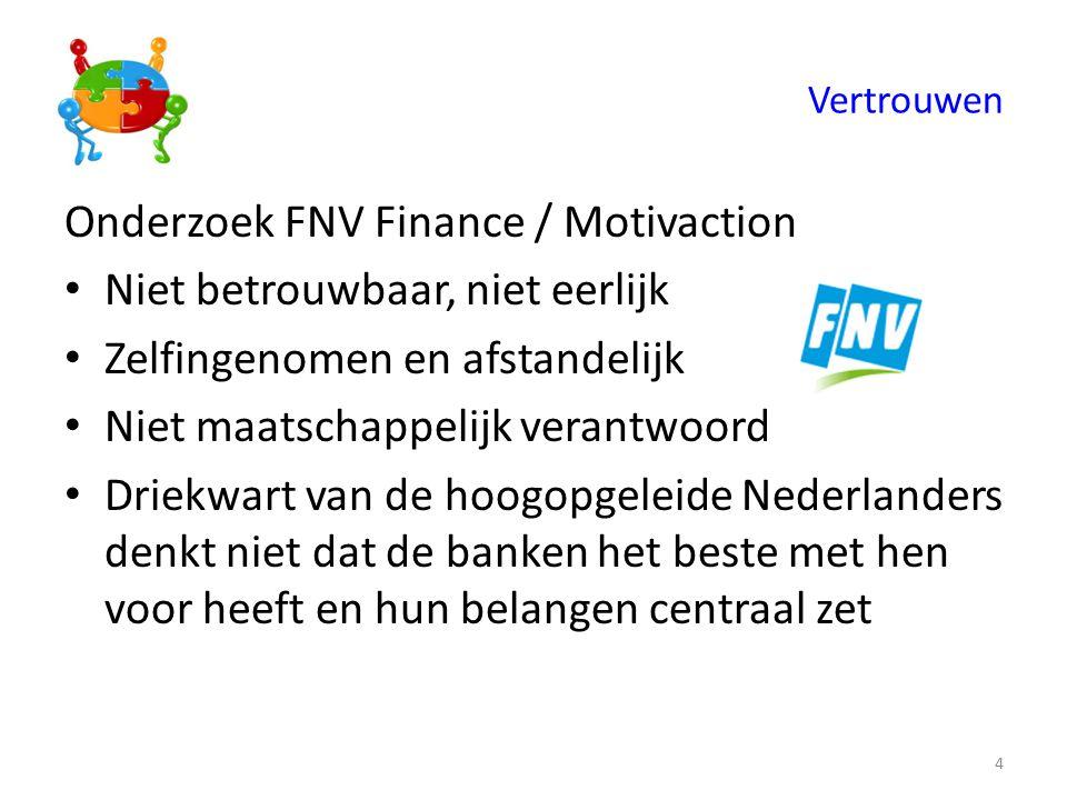 Vertrouwen Onderzoek FNV Finance / Motivaction Niet betrouwbaar, niet eerlijk Zelfingenomen en afstandelijk Niet maatschappelijk verantwoord Driekwart van de hoogopgeleide Nederlanders denkt niet dat de banken het beste met hen voor heeft en hun belangen centraal zet 4