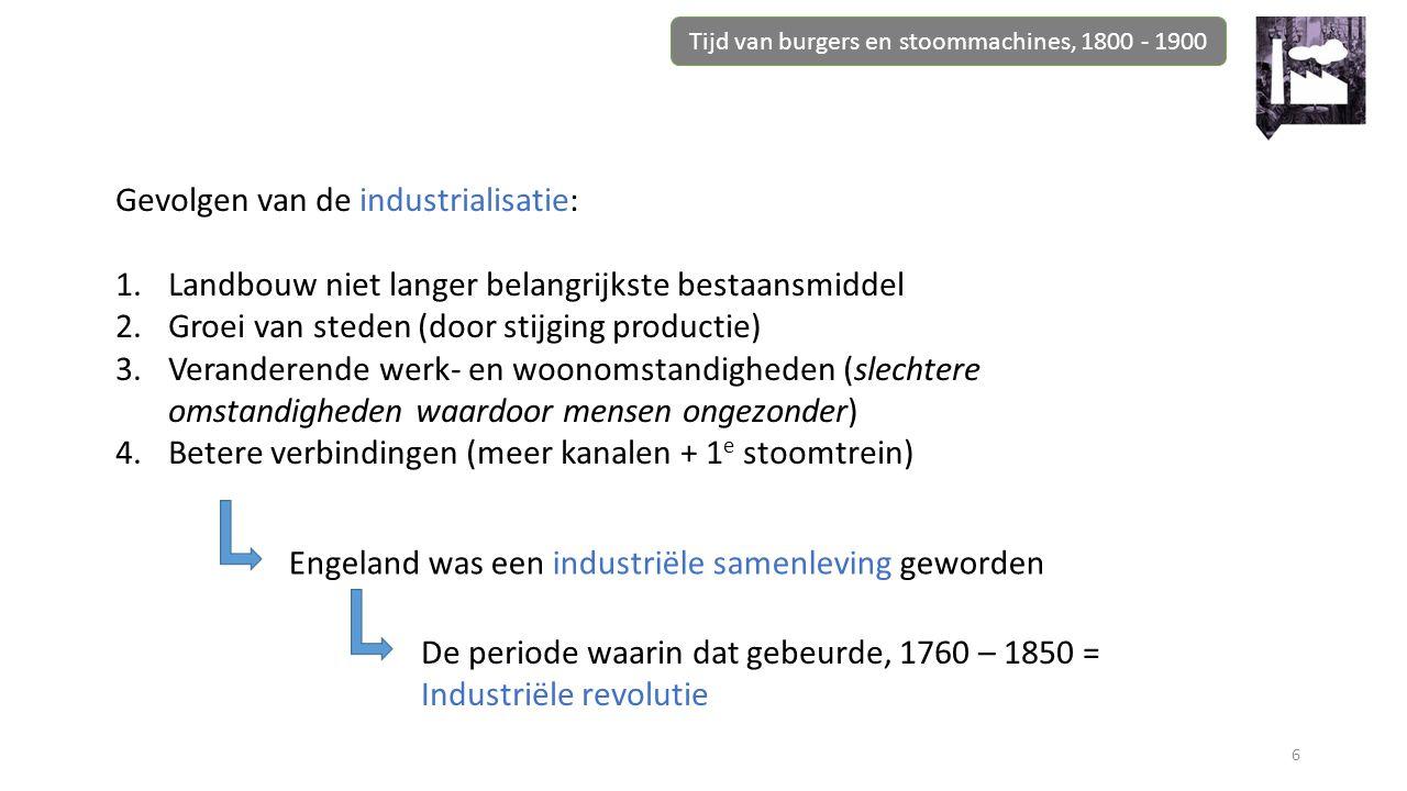 Tijd van burgers en stoommachines, 1800 - 1900 6 Gevolgen van de industrialisatie: 1.Landbouw niet langer belangrijkste bestaansmiddel 2.Groei van ste