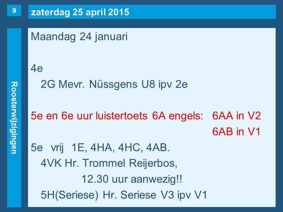 zaterdag 25 april 2015 Roosterwijzigingen Maandag 24 januari 6evrij3HA(naar 25/1, 8e uur), 4AA.