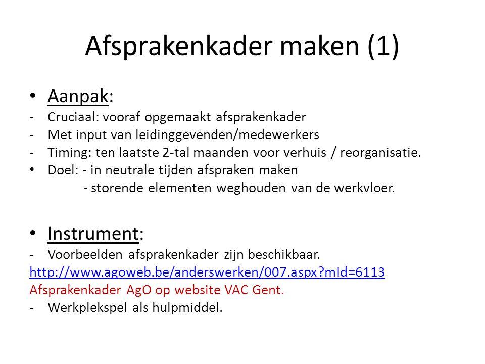 Afsprakenkader maken (1) Aanpak: -Cruciaal: vooraf opgemaakt afsprakenkader -Met input van leidinggevenden/medewerkers -Timing: ten laatste 2-tal maan
