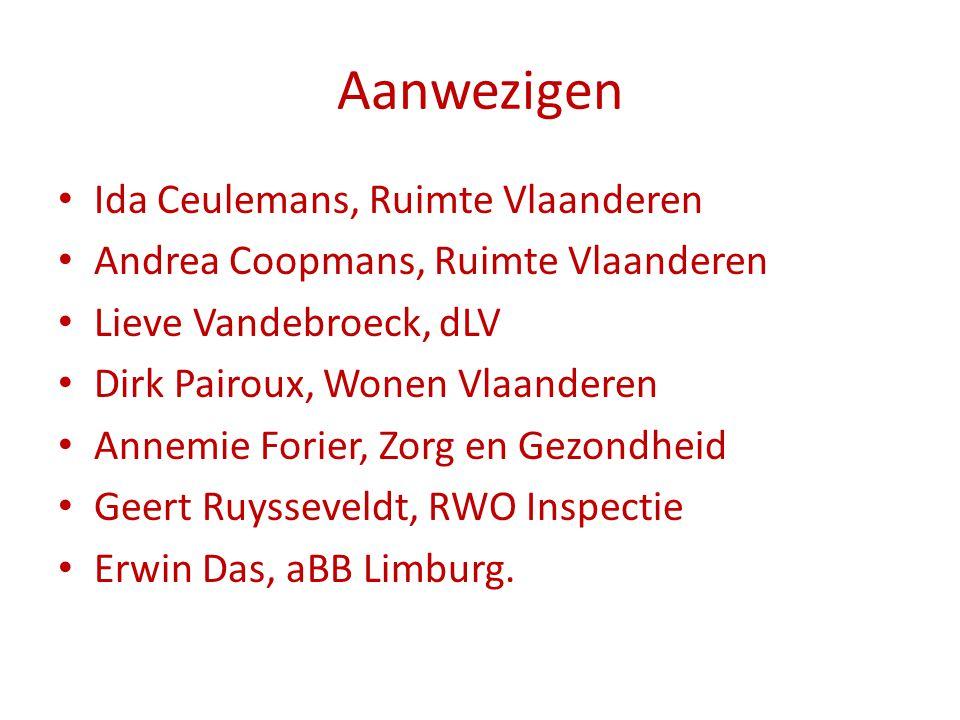 Aanwezigen Ida Ceulemans, Ruimte Vlaanderen Andrea Coopmans, Ruimte Vlaanderen Lieve Vandebroeck, dLV Dirk Pairoux, Wonen Vlaanderen Annemie Forier, Z