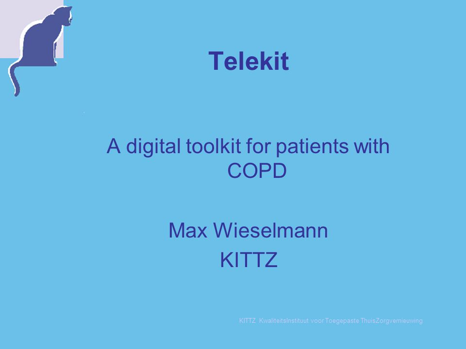 KITTZ KwaliteitsInstituut voor Toegepaste ThuisZorgvernieuwing Evaluation: the organisation  To combine content, technics and organisation: complex  To 'translate paper' into the screen of a PC: difficult  Internal support for innovation: hard to reach  Better to start with the Telekit earlier  The Telekit should be part of the program, not on top of it
