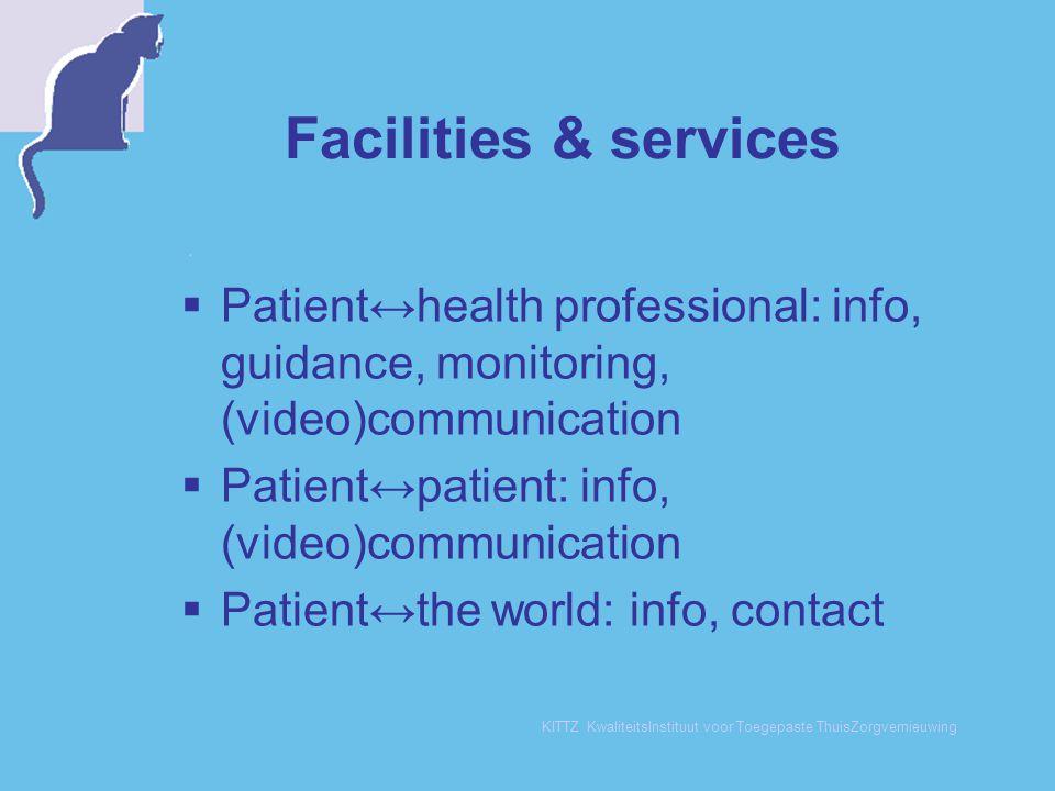 KITTZ KwaliteitsInstituut voor Toegepaste ThuisZorgvernieuwing Facilities & services  Patient↔health professional: info, guidance, monitoring, (video