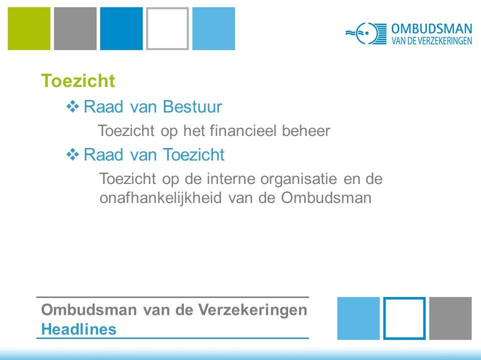 Toezicht  Raad van Bestuur Toezicht op het financieel beheer  Raad van Toezicht Toezicht op de interne organisatie en de onafhankelijkheid van de Ombudsman Ombudsman van de Verzekeringen Headlines