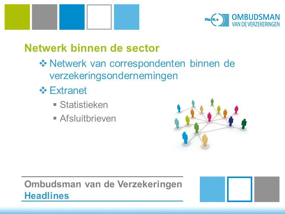 Netwerk binnen de sector  Netwerk van correspondenten binnen de verzekeringsondernemingen  Extranet  Statistieken  Afsluitbrieven Ombudsman van de Verzekeringen Headlines