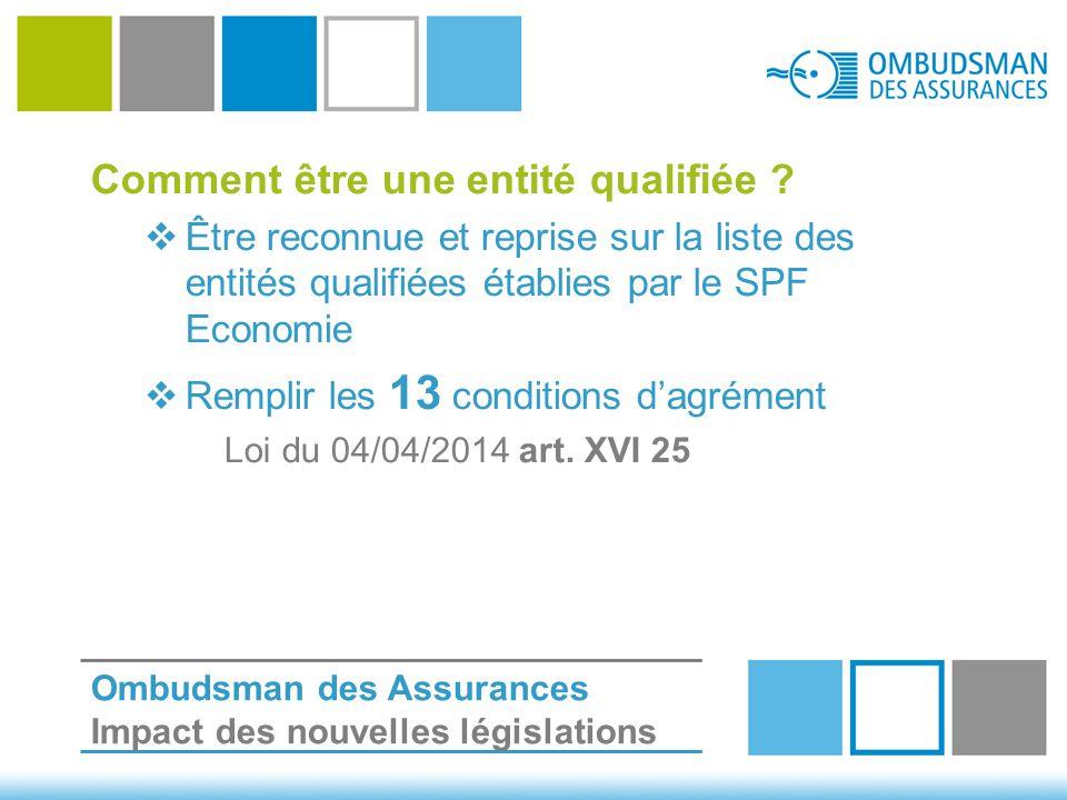 Comment être une entité qualifiée ?  Être reconnue et reprise sur la liste des entités qualifiées établies par le SPF Economie  Remplir les 13 condi