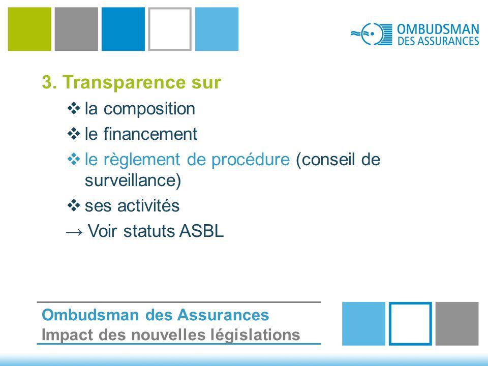 3. Transparence sur  la composition  le financement  le règlement de procédure (conseil de surveillance)  ses activités → Voir statuts ASBL Ombuds