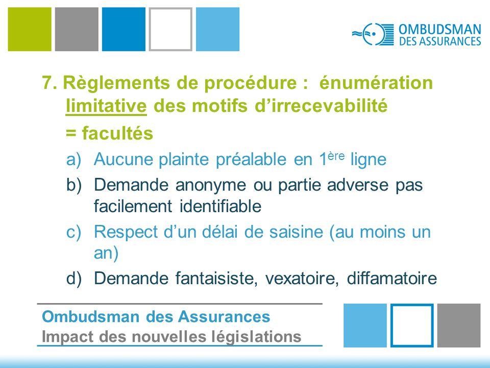 7. Règlements de procédure : énumération limitative des motifs d'irrecevabilité = facultés a)Aucune plainte préalable en 1 ère ligne b)Demande anonyme