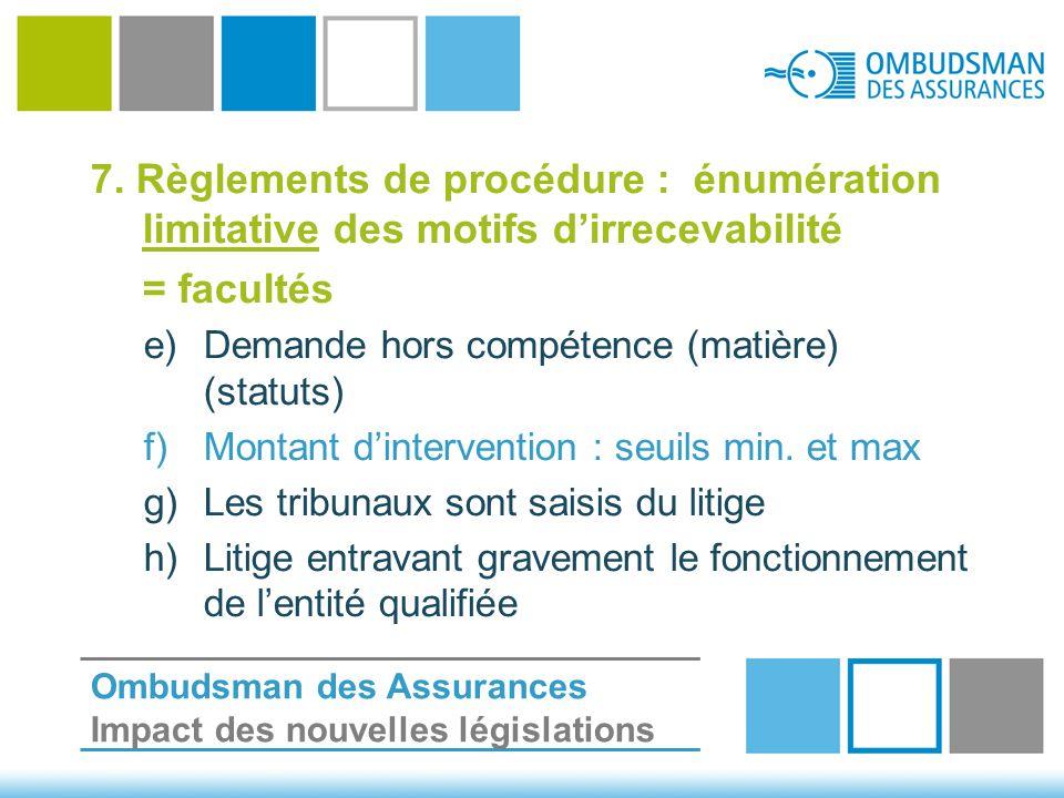 7. Règlements de procédure : énumération limitative des motifs d'irrecevabilité = facultés e)Demande hors compétence (matière) (statuts) f)Montant d'i