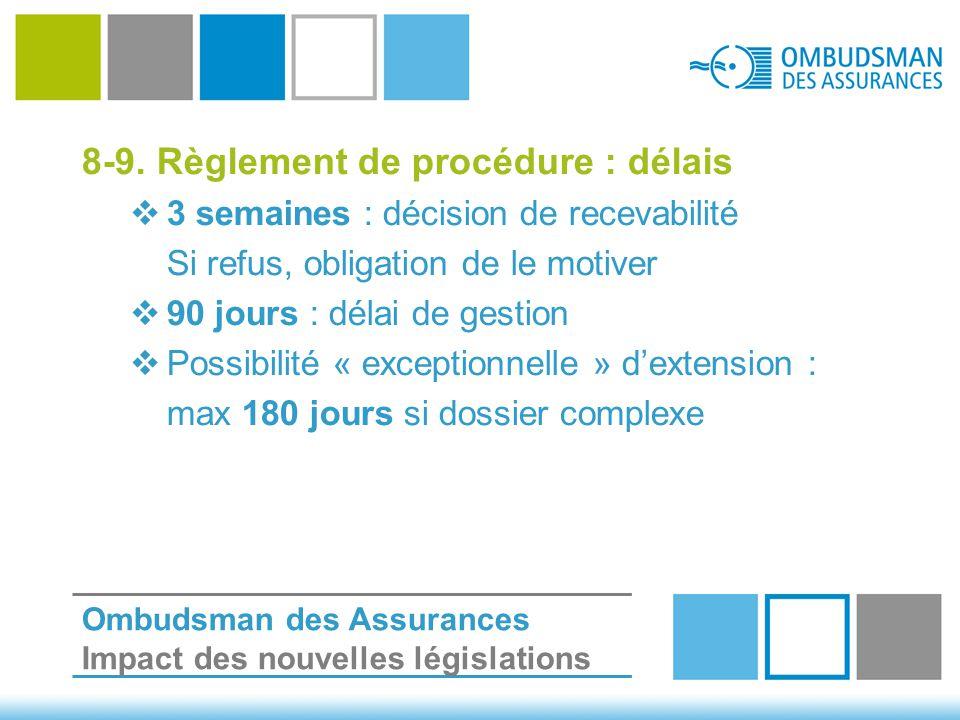 8-9. Règlement de procédure : délais  3 semaines : décision de recevabilité Si refus, obligation de le motiver  90 jours : délai de gestion  Possib