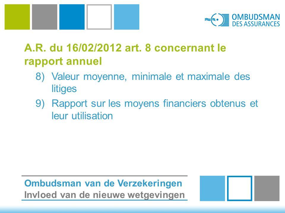 A.R. du 16/02/2012 art. 8 concernant le rapport annuel 8)Valeur moyenne, minimale et maximale des litiges 9)Rapport sur les moyens financiers obtenus