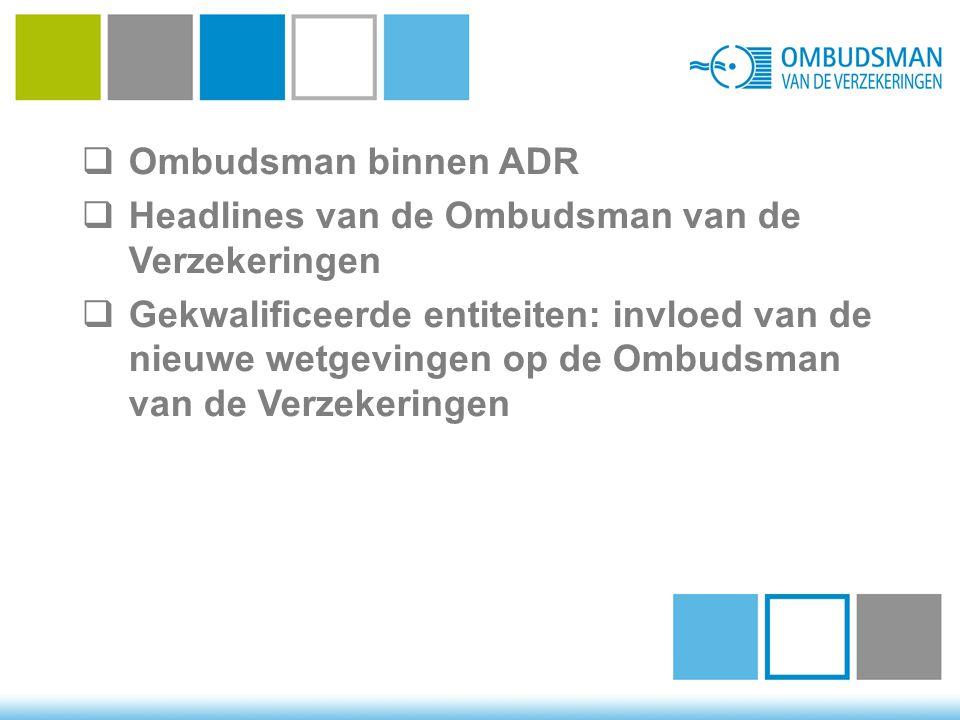  Ombudsman binnen ADR  Headlines van de Ombudsman van de Verzekeringen  Gekwalificeerde entiteiten: invloed van de nieuwe wetgevingen op de Ombudsm