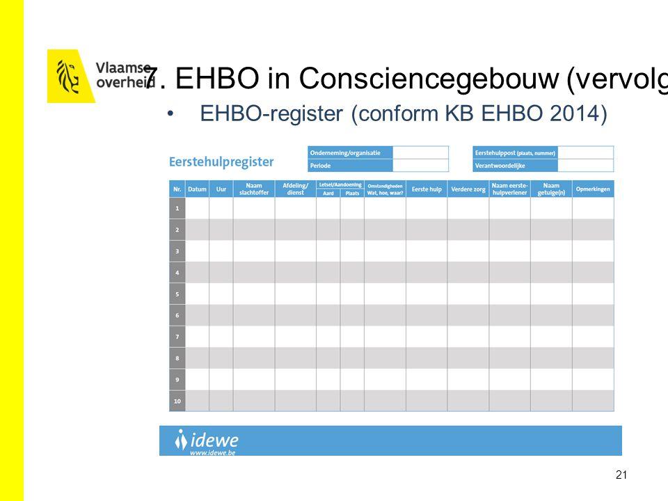 EHBO-register (conform KB EHBO 2014) 21 7. EHBO in Consciencegebouw (vervolg)