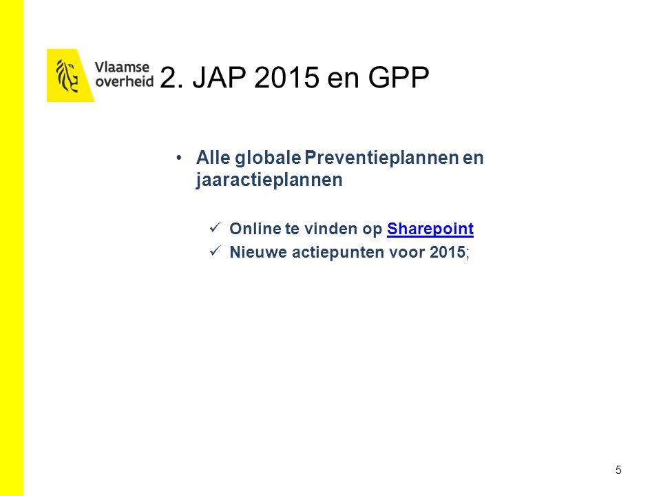 2. JAP 2015 en GPP 5 Alle globale Preventieplannen en jaaractieplannen Online te vinden op SharepointSharepoint Nieuwe actiepunten voor 2015;