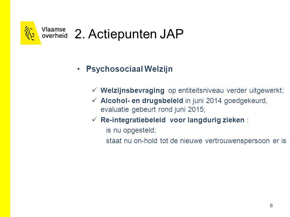 2. Actiepunten JAP 6 Psychosociaal Welzijn Welzijnsbevraging op entiteitsniveau verder uitgewerkt; Alcohol- en drugsbeleid in juni 2014 goedgekeurd, e