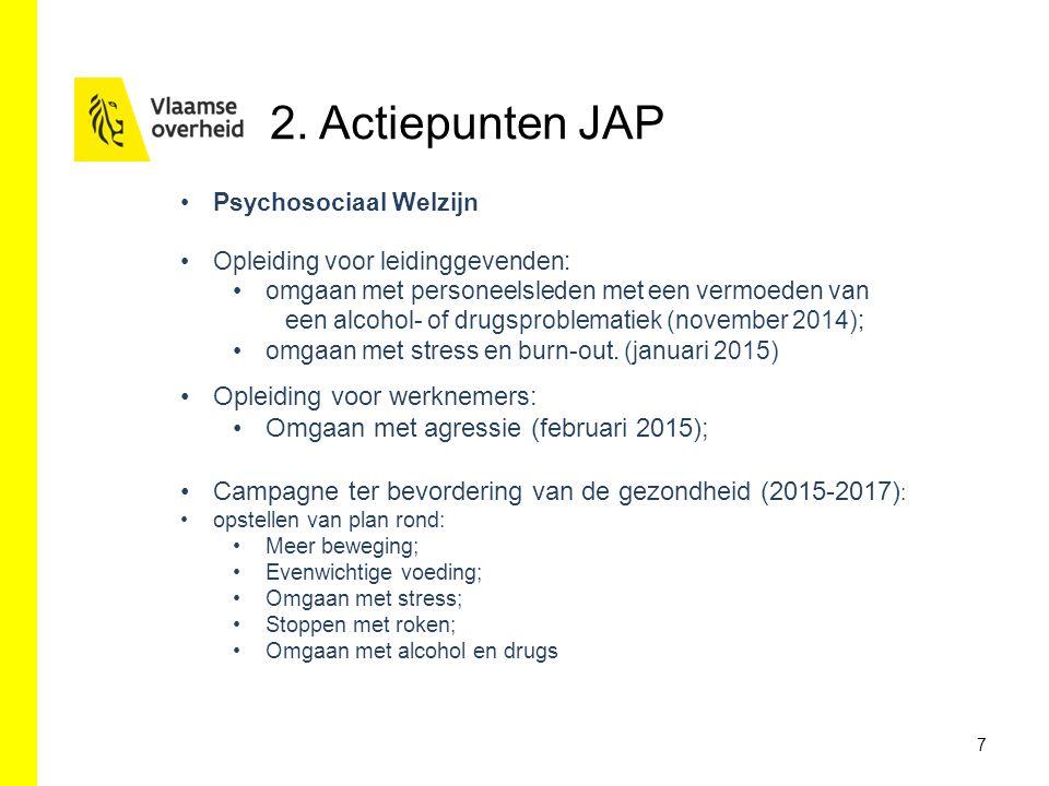 7 Psychosociaal Welzijn Opleiding voor leidinggevenden: omgaan met personeelsleden met een vermoeden van een alcohol- of drugsproblematiek (november 2014); omgaan met stress en burn-out.