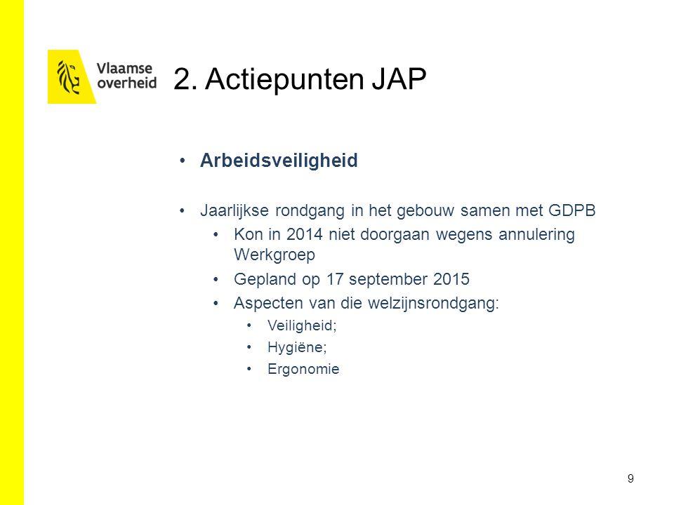 9 Arbeidsveiligheid Jaarlijkse rondgang in het gebouw samen met GDPB Kon in 2014 niet doorgaan wegens annulering Werkgroep Gepland op 17 september 2015 Aspecten van die welzijnsrondgang: Veiligheid; Hygiëne; Ergonomie 2.