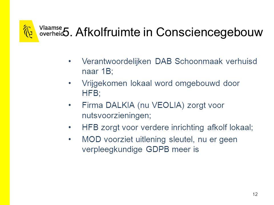 5. Afkolfruimte in Consciencegebouw Verantwoordelijken DAB Schoonmaak verhuisd naar 1B; Vrijgekomen lokaal word omgebouwd door HFB; Firma DALKIA (nu V