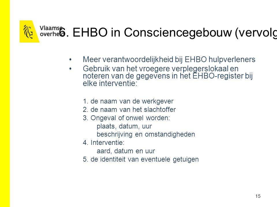 Meer verantwoordelijkheid bij EHBO hulpverleners Gebruik van het vroegere verplegerslokaal en noteren van de gegevens in het EHBO-register bij elke in