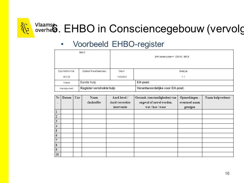 Voorbeeld EHBO-register 16 6. EHBO in Consciencegebouw (vervolg) Nr. DatumUur Naam slachtoffer Aard letsel / Aard verstrekte interventie Oorzaak (omst
