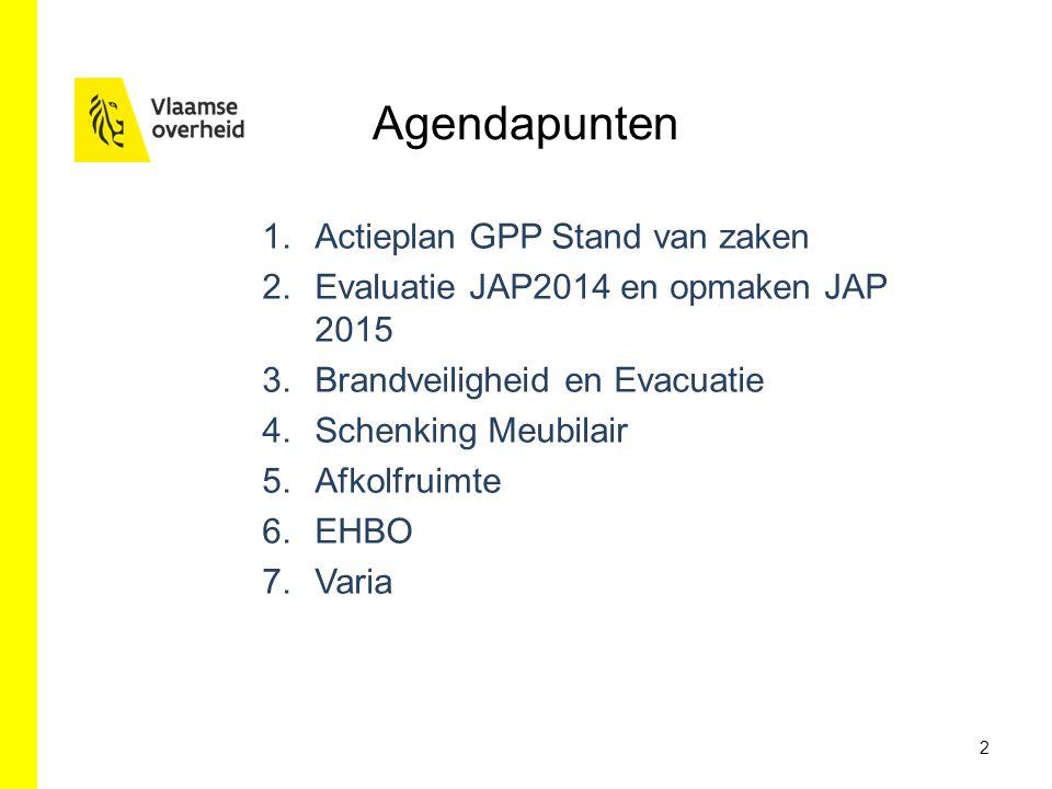 Agendapunten 1.Actieplan GPP Stand van zaken 2.Evaluatie JAP2014 en opmaken JAP 2015 3.Brandveiligheid en Evacuatie 4.Schenking Meubilair 5.Afkolfruim