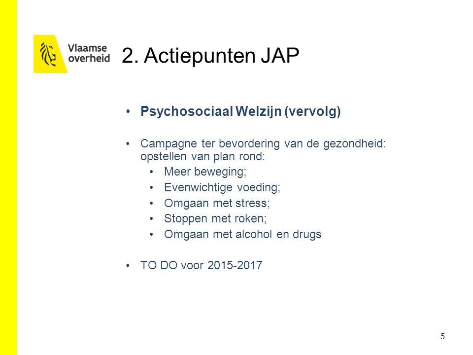 5 Psychosociaal Welzijn (vervolg) Campagne ter bevordering van de gezondheid: opstellen van plan rond: Meer beweging; Evenwichtige voeding; Omgaan met