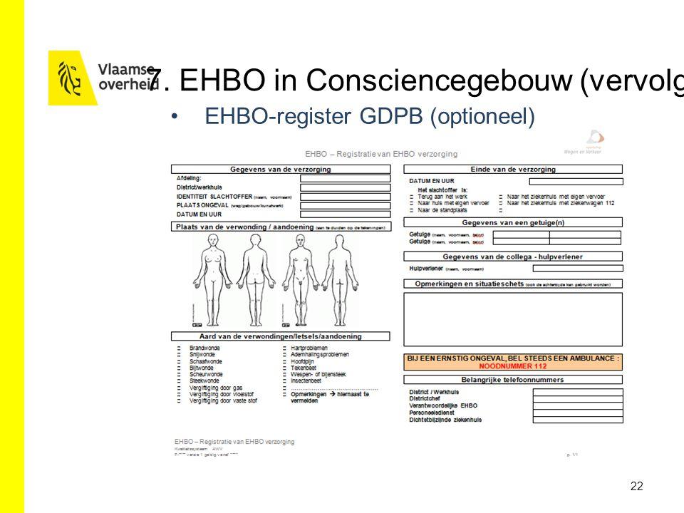 EHBO-register GDPB (optioneel) 22 7. EHBO in Consciencegebouw (vervolg)