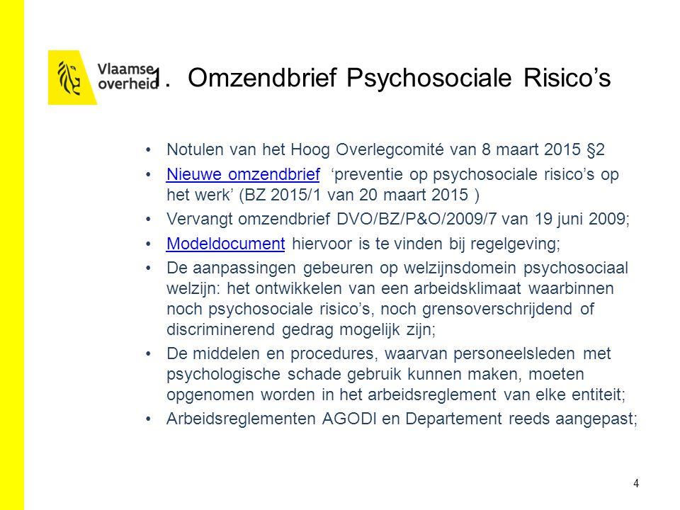 1.Omzendbrief Psychosociale Risico's Notulen van het Hoog Overlegcomité van 8 maart 2015 §2 Nieuwe omzendbrief 'preventie op psychosociale risico's op het werk' (BZ 2015/1 van 20 maart 2015 )Nieuwe omzendbrief Vervangt omzendbrief DVO/BZ/P&O/2009/7 van 19 juni 2009; Modeldocument hiervoor is te vinden bij regelgeving;Modeldocument De aanpassingen gebeuren op welzijnsdomein psychosociaal welzijn: het ontwikkelen van een arbeidsklimaat waarbinnen noch psychosociale risico's, noch grensoverschrijdend of discriminerend gedrag mogelijk zijn; De middelen en procedures, waarvan personeelsleden met psychologische schade gebruik kunnen maken, moeten opgenomen worden in het arbeidsreglement van elke entiteit; Arbeidsreglementen AGODI en Departement reeds aangepast; 4