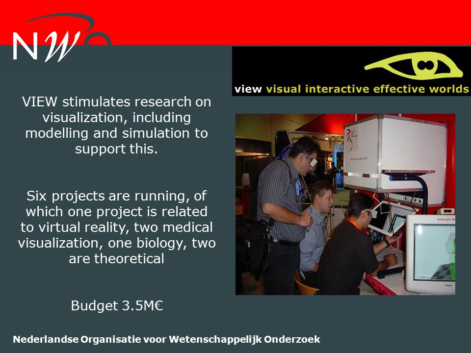 Nederlandse Organisatie voor Wetenschappelijk Onderzoek VIEW stimulates research on visualization, including modelling and simulation to support this.