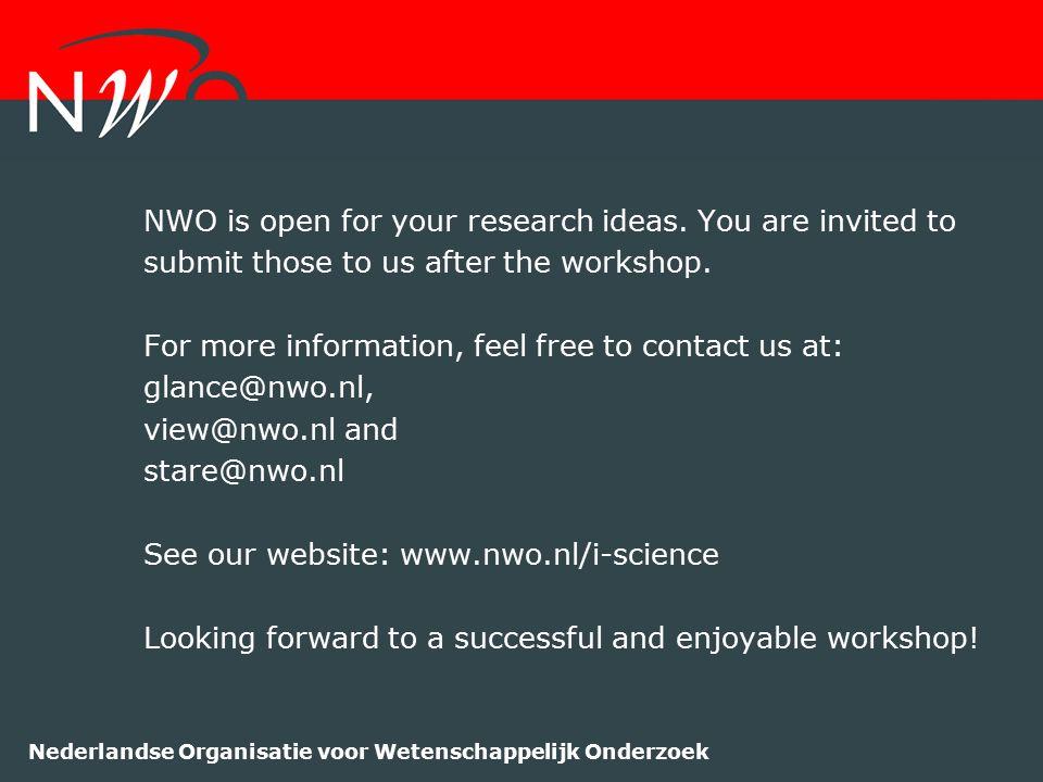Nederlandse Organisatie voor Wetenschappelijk Onderzoek NWO is open for your research ideas. You are invited to submit those to us after the workshop.