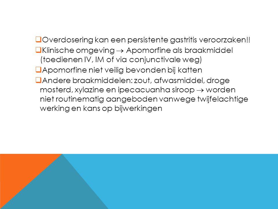  Overdosering kan een persistente gastritis veroorzaken!!  Klinische omgeving  Apomorfine als braakmiddel (toedienen IV, IM of via conjunctivale we