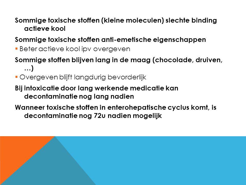 Sommige toxische stoffen (kleine moleculen) slechte binding actieve kool Sommige toxische stoffen anti-emetische eigenschappen  Beter actieve kool ip