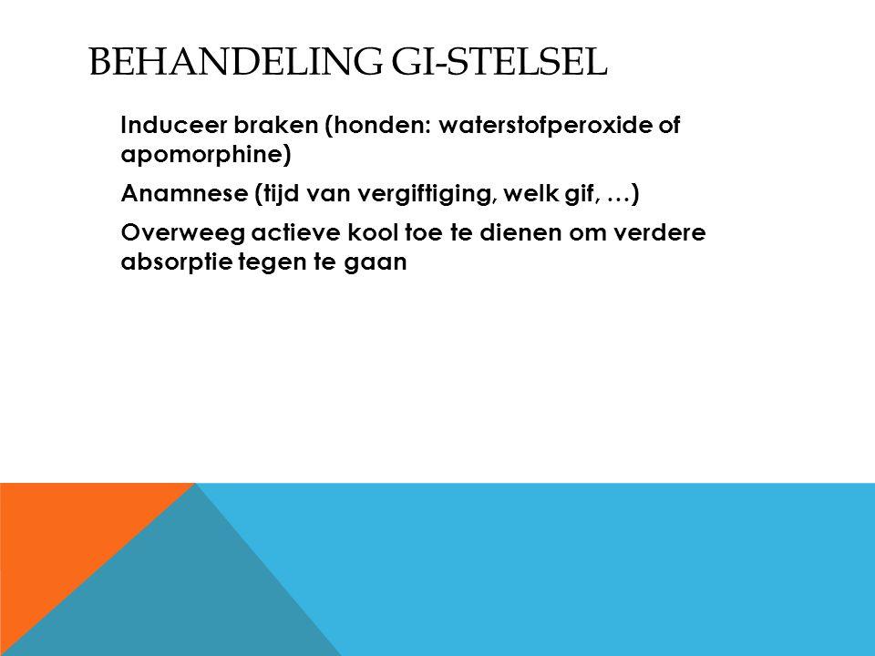 BEHANDELING GI-STELSEL Induceer braken (honden: waterstofperoxide of apomorphine) Anamnese (tijd van vergiftiging, welk gif, …) Overweeg actieve kool