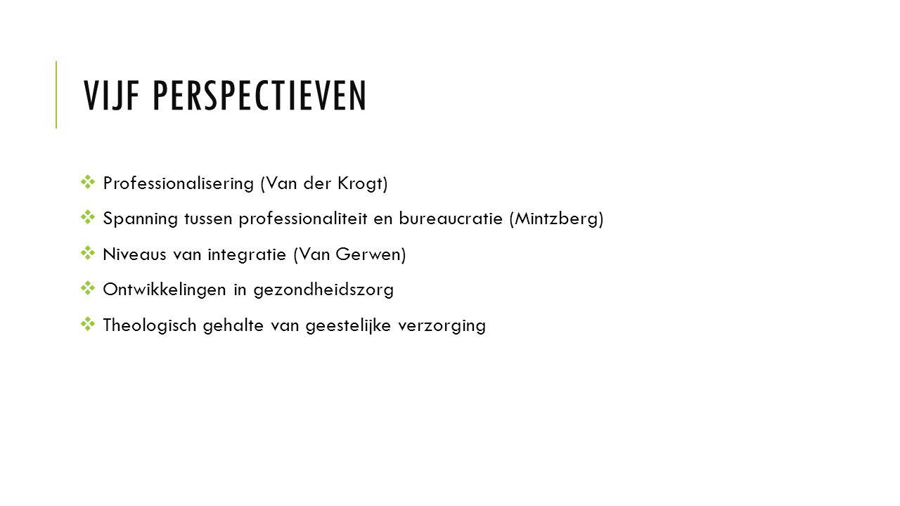 VIJF PERSPECTIEVEN  Professionalisering (Van der Krogt)  Spanning tussen professionaliteit en bureaucratie (Mintzberg)  Niveaus van integratie (Van