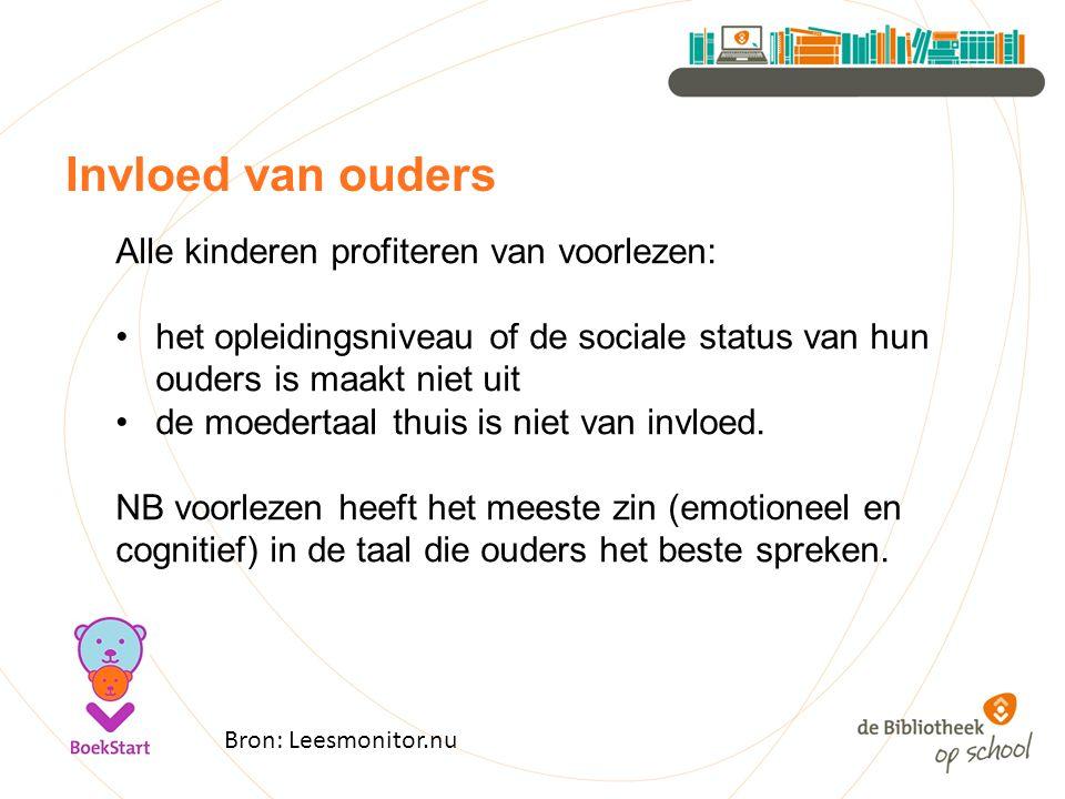 Invloed van ouders Bron: Leesmonitor.nu Alle kinderen profiteren van voorlezen: het opleidingsniveau of de sociale status van hun ouders is maakt niet