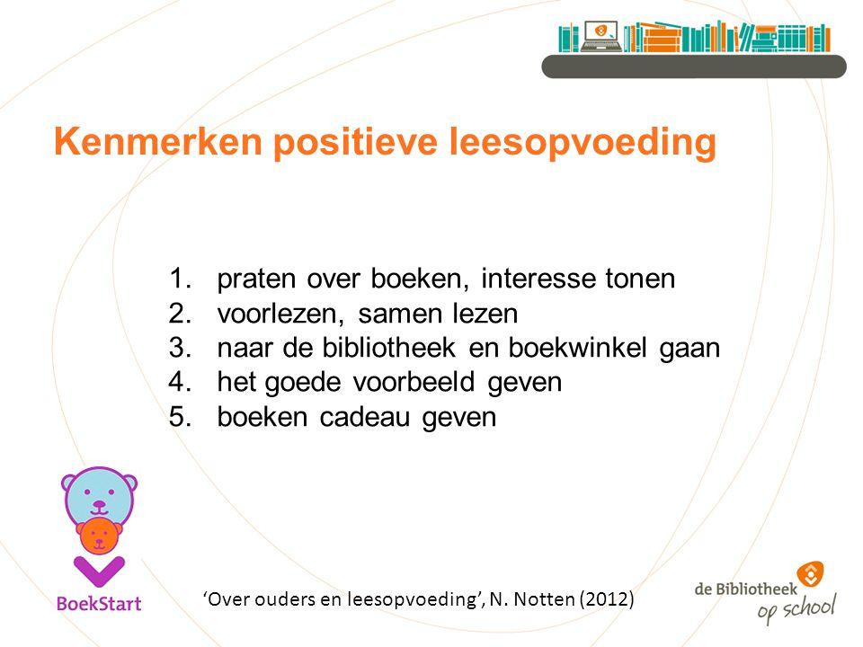 Kenmerken positieve leesopvoeding 1.praten over boeken, interesse tonen 2.voorlezen, samen lezen 3.naar de bibliotheek en boekwinkel gaan 4.het goede