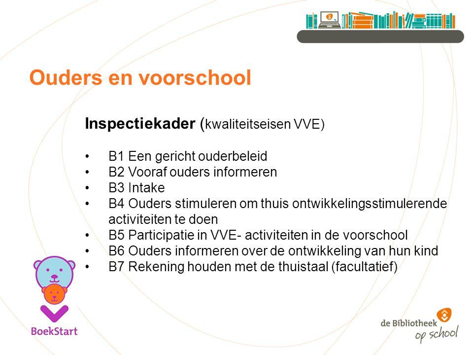 Ouders en voorschool Inspectiekader ( kwaliteitseisen VVE) B1 Een gericht ouderbeleid B2 Vooraf ouders informeren B3 Intake B4 Ouders stimuleren om th
