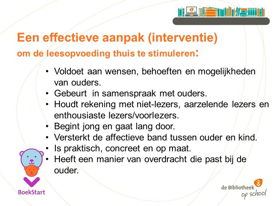 Een effectieve aanpak (interventie) om de leesopvoeding thuis te stimuleren : Voldoet aan wensen, behoeften en mogelijkheden van ouders. Gebeurt in sa