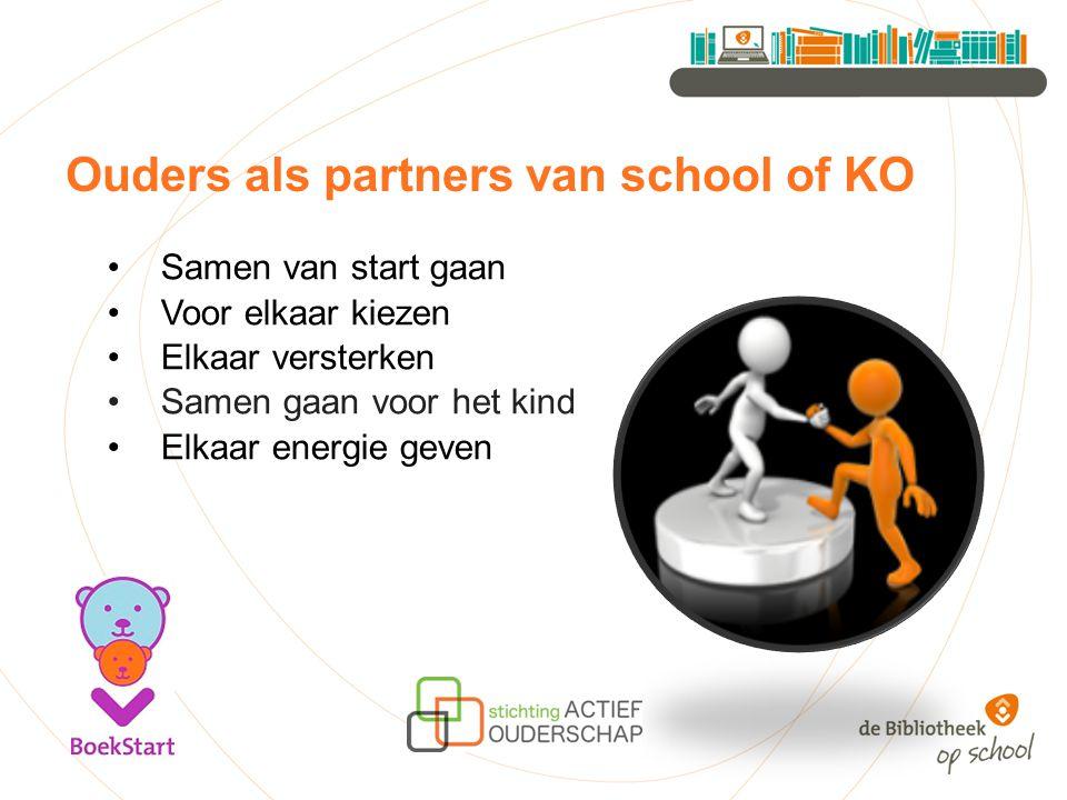 Ouders als partners van school of KO Samen van start gaan Voor elkaar kiezen Elkaar versterken Samen gaan voor het kind Elkaar energie geven