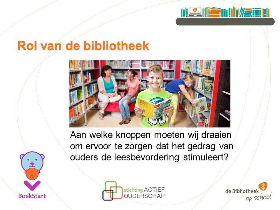 Rol van de bibliotheek Aan welke knoppen moeten wij draaien om ervoor te zorgen dat het gedrag van ouders de leesbevordering stimuleert?