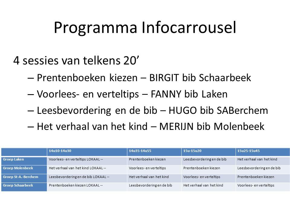 Programma Infocarrousel 4 sessies van telkens 20' – Prentenboeken kiezen – BIRGIT bib Schaarbeek – Voorlees- en verteltips – FANNY bib Laken – Leesbevordering en de bib – HUGO bib SABerchem – Het verhaal van het kind – MERIJN bib Molenbeek 14u10-14u3014u35-14u5515u-15u2015u25-15u45 Groep LakenVoorlees- en verteltips LOKAAL --Prentenboeken kiezenLeesbevordering en de bibHet verhaal van het kind Groep MolenbeekHet verhaal van het kind LOKAAL --Voorlees- en verteltipsPrentenboeken kiezenLeesbevordering en de bib Groep St-A.-BerchemLeesbevordering en de bib LOKAAL --Het verhaal van het kindVoorlees- en verteltipsPrentenboeken kiezen Groep SchaarbeekPrentenboeken kiezen LOKAAL --Leesbevordering en de bibHet verhaal van het kindVoorlees- en verteltips