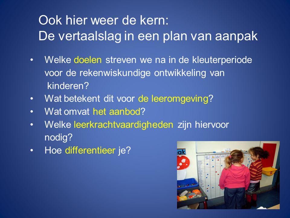 Welke doelen streven we na in de kleuterperiode voor de rekenwiskundige ontwikkeling van kinderen.